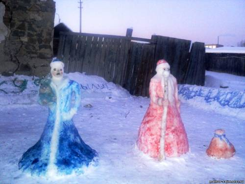 Дед мороз и снегурочка из снега своими руками фото